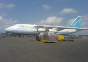 a cargo plane off loading at faan